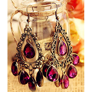 Shining Diva Non Plated Purple Dangle Earrings For Women-CFJ4507er