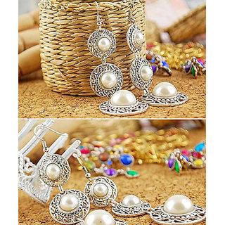 Shining Diva Non Plated White Dangle Earrings For Women-CFJ5335er
