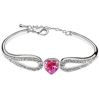 Shining Diva Non Plated Pink Charm Bracelets For Women-CFJ7899b