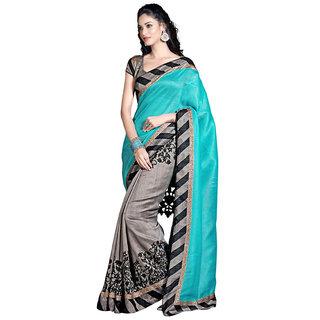 Clickedia Womens Cotton 0 Saree(1594 Grey  Sky Blue)