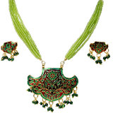 Green Designer Meenakari Brass Necklace Set -116