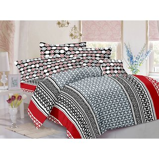 Valtellina Cotton Traditional  Grey  Double Bedsheet with 2 Contrast Pillow Covers(TC-129)