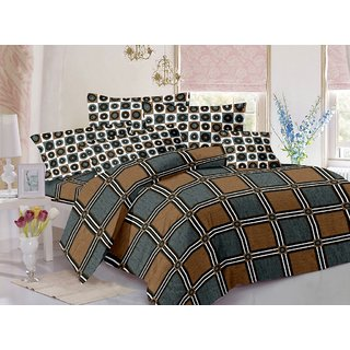 Valtellina Cotton Checkered Grey  Double Bedsheet with 2 Contrast Pillow Covers(TC-129)
