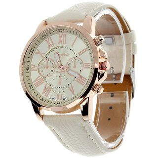 Geneva Platinum Classic White Watch For Women - GP 197