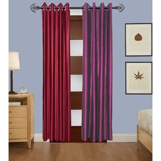 GauravCurtains Polyester Multicolor Plain 9x4 Feet Long Door Curtain (Pack of 2)
