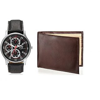 Arum Latest Design In Black Leather WatchBrown Wallet For Men AWW-26