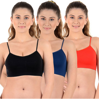 Chileelife Non-Padded Sports Bra Combo (Black, Beige, Red, Pack Of 3)