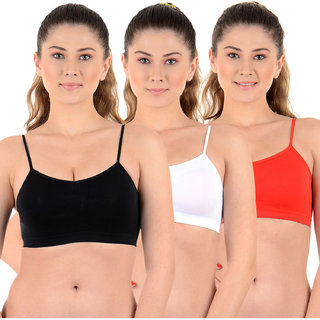Chileelife Non-Padded Sports Bra Combo (Black, White, Red, Pack Of 3)