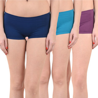 Chileelife Sports Shorts Combo - Pack Of 3 (Light Blue,Blue,Purple)