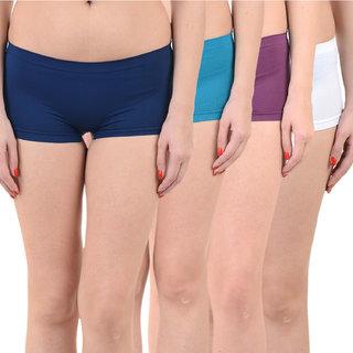 Chileelife Sports Shorts Combo - Pack Of 4 (Light Blue,Blue,Purple,White)