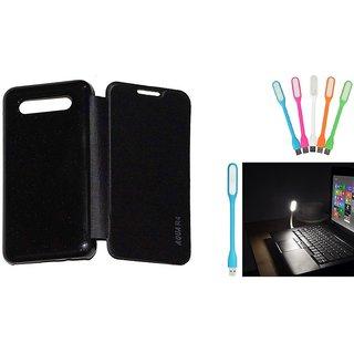 Ready Durable PU Leather Flip Cover For Intex Aqua R4 (Black)+Mini Portable Designer USB LED- Lamp Led Light