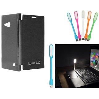 Ready Durable PU Leather Flip Cover For Microsoft Lumia 730 (Black)+Mini Portable Designer USB LED- Lamp Led Light