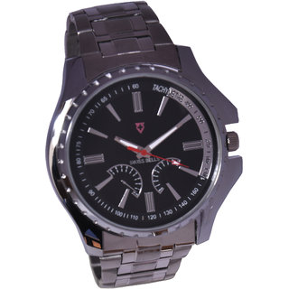 Svviss Bells Stylish Black Dial Broad Stainless Steel Watch For Men