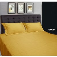 Super Soft Solid Double Bed Sheet With 2 Pillow Covers (Gold)