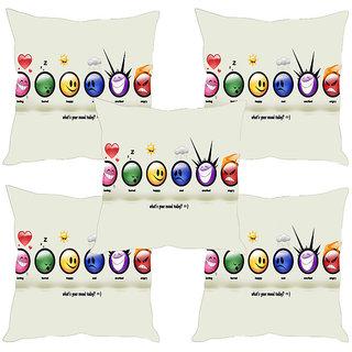 Sleep NatureS Smileys Printed Cushion Covers Set Of Five