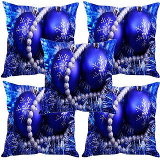 Sleep NatureS Christmas Balls Printed Cushion Covers Set Of Five