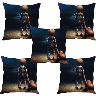 Sleep NatureS Cartoon Printed Cushion Covers Set Of Five
