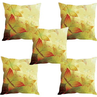 Sleep NatureS ButterflyS Painting Printed Cushion Covers Set Of Five