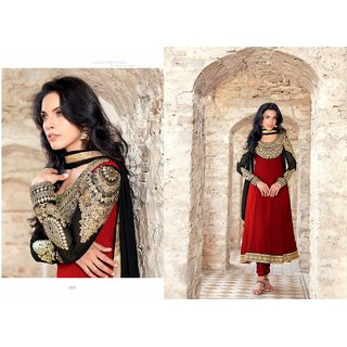 Royal Black And Maroon Georgette Churidar Suit