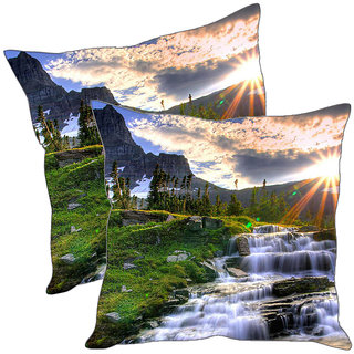 Sleep NatureS Waterfall Printed Cushion Covers Pack Of 2
