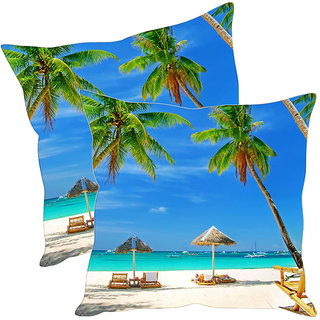 Sleep NatureS Beach Printed Cushion Covers Pack Of 2