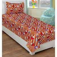 BSB Trendz Printed  Single Cotton Kids Bedsheet With 1 Pillow Covers
