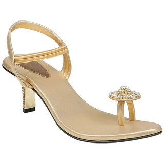 Shoe Bazar Womens Gold Wedding Sandals