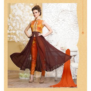 Thankar Orange  Brown Plain Georgette Anarkali Suit
