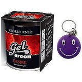 New Areon Car Air Home Gel Based Perfume Freshener DESIRE Free Smiley Key Chain.