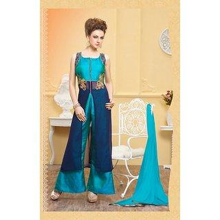 Thankar Navy Blue  Blue Plain Georgette Straight Suit