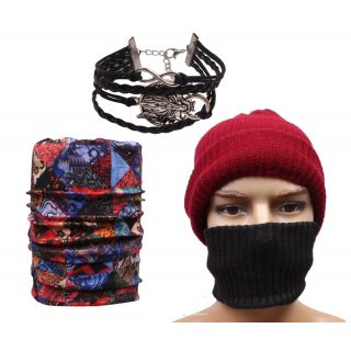 Sushito Classic Maroon Wollen Mokkey Cap With Head Band With Bandana  Wrist Band JSMFHCP1469-JSMFHWB1055-JSMFHMA0563