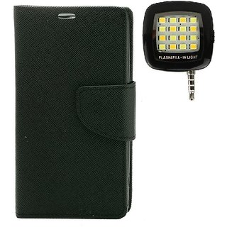 YGS Premium Diary Wallet Mobile Case Cover For Micromax Canvas Spark Q380-Black With Photo Enhancing Flash Light