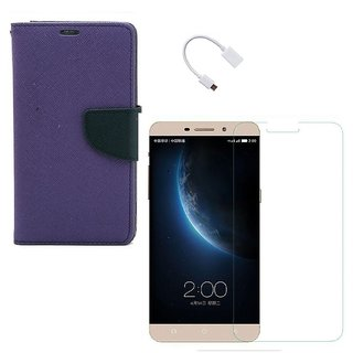 YGS Premium Diary Wallet Case Cover For LeTv Le(Eco) 1s-Purple With Tempered Glass and Micro  With Micro OTG