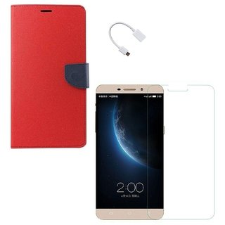 YGS Premium Diary Wallet Case Cover For LeTv Le(Eco) 1s-Red With Tempered Glass and Micro  With Micro OTG