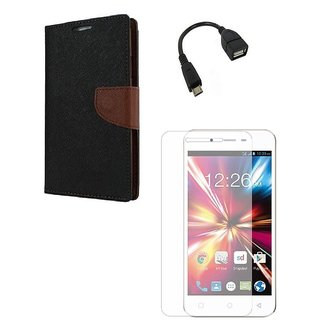 YGS Premium Diary Wallet Mobile Case Cover For Micromax Canvas Spark Q380-Brown With Tempered Glass and Micro  With Micro OTG