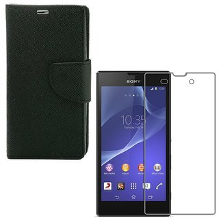 YGS Premium Diary Wallet Case Cover For Sony Xperia T2 Ultra-Black With Tempered Glass