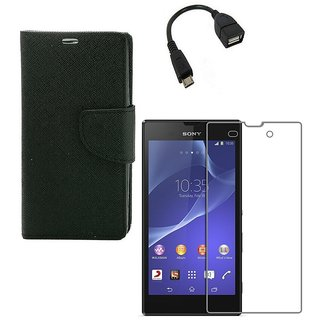 YGS Premium Diary Wallet Case Cover For Sony Xperia T2 Ultra-Black With Tempered Glass and Micro  With Micro OTG