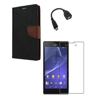 YGS Premium Diary Wallet Case Cover For Sony Xperia Z3-Brown With Tempered Glass and Micro  With Micro OTG