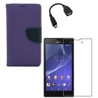 YGS Premium Diary Wallet Case Cover For Sony Xperia T2 Ultra-Purple With Tempered Glass and Micro  With Micro OTG