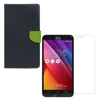 YGS Premium Diary Wallet Case Cover For Asus Zenfone 6 A600CG-Blue With Tempered Glass