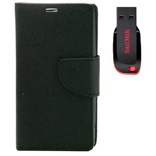 YGS Premium Diary Wallet Mobile Case Cover For  Micromax Canvas Juice 2 AQ5001-Black  With Sandisk Pen Drive 8GB