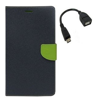 YGS Premium Diary Wallet Mobile Case Cover For Micromax Canvas Spark Q380-Blue With Micro OTG