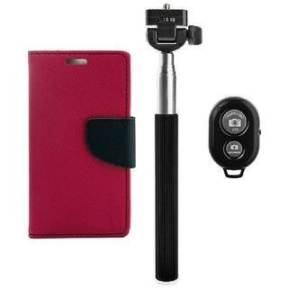 YGS Premium Diary Wallet Mobile Case Cover For Micromax Canvas Spark Q380-Pink With Extendable Selfie Stick and  Bluetooth Shutter Remote