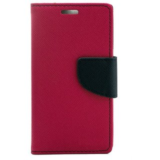 YGS Premium Diary Wallet Mobile Case Cover For Micromax Canvas Spark Q380-Pink