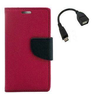 YGS Premium Diary Wallet Mobile Case Cover For Micromax Canvas Spark Q380-Pink With Micro OTG