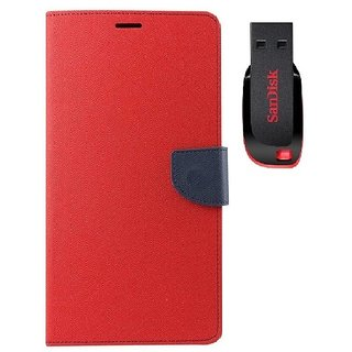 YGS Premium Diary Wallet Mobile Case Cover For Micromax Canvas Spark Q380-Red With Sandisk Pen Drive 8GB