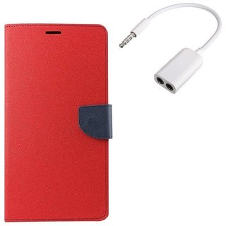 YGS Premium Diary Wallet Mobile Case Cover For Micromax Canvas Spark Q380-Red With Audio Splitter