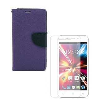 YGS Premium Diary Wallet Mobile Case Cover For Micromax Canvas Spark Q380-Purple With Tempered Glass