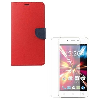 YGS Premium Diary Wallet Mobile Case Cover For Micromax Canvas Spark Q380-Red With Tempered Glass