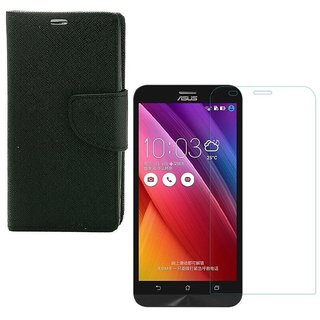 YGS Premium Diary Wallet Case Cover For Asus Zenfone 5 A500CG Edition-Black With Tempered Glass